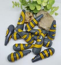 Vintage 1980's Tribal Yellow & Gray Large 55mm Wood Teardrop Unique Beads DIY