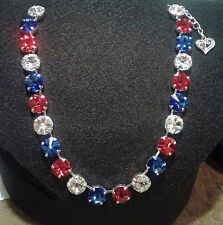 12mm Rivoli Cup Chain Necklace  With Genuine Swarovski Crystal Red Clear Blue