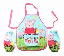 New Disney Cartoon Pig Children Kids Cartoon Painting Cooking Apron Sleeves Set