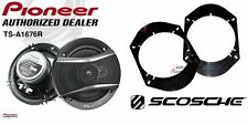 Pioneer TS-A1676R 6.5 Speakers + 1 Pair Front / Rear Adapters For Ford