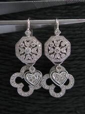 18Kt Milgrain Diamond White Gold Clover & Heart Drop Earring .80Ct