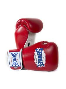 Sandee Boxing Gloves Authentic Leather Red White Muay Thai Kickboxing MMA