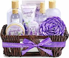 Spa Bath Gift Baskets for Women - 10 Pcs Lavender Home Bath and Body Gifts Set