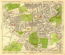 N LONDON. East Finchley Muswell Hill Highgate Crystal Palace. BACON 1928 map