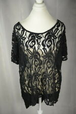 WOMENS PULLOVER TOP APT 9 PLUS SIZE 1X BLACK LACE TRENDY DRESSY