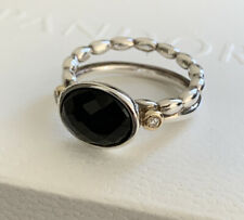 "New! Pandora ""Elegant Embrace"" Silver Ring W/ Onyx & 14K Gold, 190839ON-54"