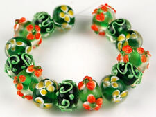 15 PCS Lampwork Glass Beads Black Green Orange Flower Handmade Rondelle Spacer