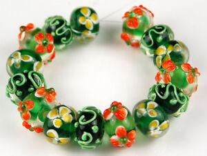 15 PCS Lampwork Glass Beads Black Green Orange Flower Handmade Rondelle Spacer
