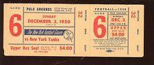 December 3 1950 NFL Football New York Giants Full Ticket