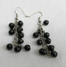 Black Japanese Cultured Pearl Drop Earrings - Bunch of Grapes Design