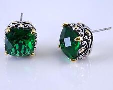 Balinese Designer Emerald Green CZ Filigree Silver Gold 18KGP Earrings