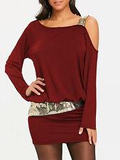 Women Fashion Long Sleeve Sequins Mini Dress S-2XL Cold Shoulder Blouson Dress
