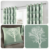 Fusion WOODLAND TREES Duck Egg Blue 100% Cotton Eyelet Ring Curtains / Cushions
