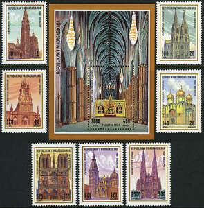 Malgache 1208-1215, Mi 1688-1695, Bl.259, MNH Eglises,Cathédrales,1995