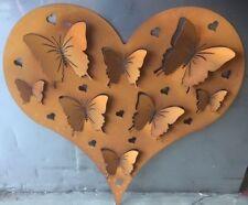 Decorative Garden Metal Fence Screen 'HEART SHAPED BUTTERFLY' corten