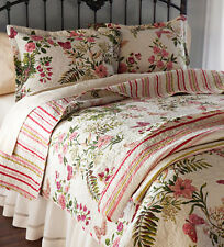 King Quilt Set Cottage Chic Butterfly Floral Garden Cotton
