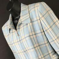Pendleton Womens Blue Plaid 100% Virgin Wool Blazer Size 8 Vintage