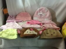 Adorable Lot of 11 Infant Girls Hat Assortment Pink Green & Brown pre-owned Nice