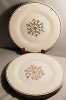"Royal Norfolk Dinner Plates Set of 4 Silver Snowflakes 11"""