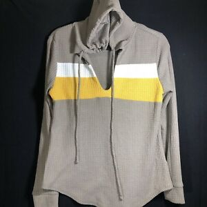 URBAN GIRL Hoodie Women Size L Taupe Yellow/White Striped Thermal Pullover Shirt