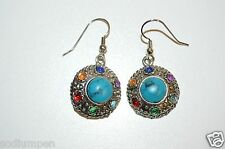 WOW Vintage Circular Jeweled Turquoise & Metal Costume Women's Earrings Rare