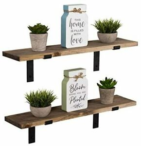 Wall Mounted Storage Shelf Rustic Wood Floating Shelves with L Brackets