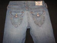 True Religion Womens Straight Leg Jeans Low Waist Flap Pocs Distressed Sz 27