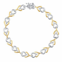 Two Tone Gold Plated Brass Fashion Heart Bracelet with Diamonds and Accents