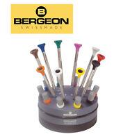 Bergeon 30081-S10, S/S Ergonomic Screwdriver in Rotating Stand (Set of 10 PCs)