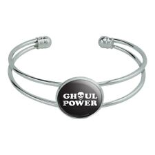 Ghoul Power Skull Girl Funny Humor Silver Plated Metal Cuff Bracelet