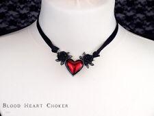 Collana girocollo donna Gothic Cuore Rosso Peltro alchimia originale D'Argento Ciondolo