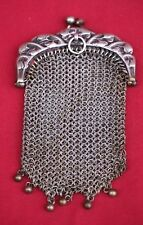 French Art Nouveau 950 Sterling Silver Mesh Purse Water Lily