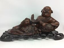 "Fine Chinese Hardwood Carved Buddha Basket Bats Statue Sculpture Stand-15"" Long"