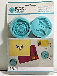 Martha Stewart Crafts Silicone Molds CHEERFUL FLOWER Set of 4 NEW Cards Flowers