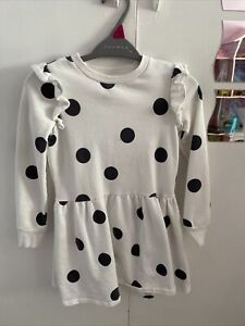 F&F Girls White Spotty Dress 6-7 Years Good Condition