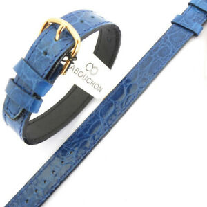 14mm ONE PIECE BLUE CABOUCHON WATCH STRAP. CROC GRAIN LEATHER. EASY TO  FIT.