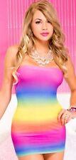 Strapless Rainbow Mini Rave Dress - Rave Dance Party Wear PLUR Fun - fnt