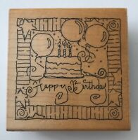 "Happy Birthday Rubber Stamp by JRL Design 2.5 x 2.5"" Wood Mounted #QQ111"
