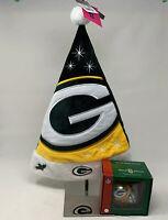 NFL Sports Collectors Green Bay Packers Glass Xmas Ornament & Santa Hat 810080