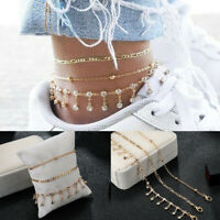 Women Gold Crystal Ankle Bracelet Anklet Adjustable Chain Foot Beach Jewelry