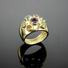 HIGH END! AMETHYST CITRINE PERIDOT BLUE TOPAZ GEM RING 14K SOLID YELLOW GOLD US7