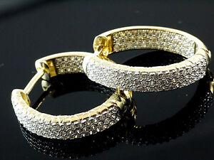 585 Gold Creolen  Scharnier Creolen 20 x 19 x 4,3mm  102 Zirkonia Steine