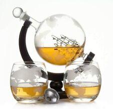 Whisky-Karaffe 900 ml und 2 Gläser Schnaps Wein Glas-behälter Flasche Globus NEU