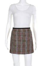 Theory Womens Zip Side Patterned Eddria Skirt Black Pink Beige Size 10