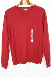 Sonoma Men's Red Heather Cotton V-Neckline Sweater - New With Tags - Size XL