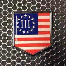 "Nyberg Three Percent Flag Domed CHROME Emblem Car Sticker 2x 2.25"" 3 percenter"