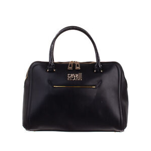 RRP €345 CAVALLI CLASS Tote Bag HANDCRAFTED PU Leather Two Handles Zip Closure