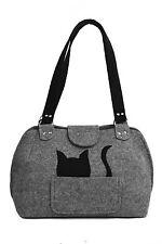 Party Katze * Handgefertigte [ extra leichte ] Handtasche Woll Filz Abend Grau