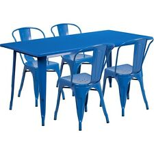 "Flash Furniture 31.5 "" X 63 "" Rectangular Blue Metal Indoor-Outdoor Table Set"