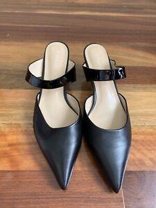 Jo Mercer Black Leather Pointed Toe Low Heel Mules Size 39 Slip On